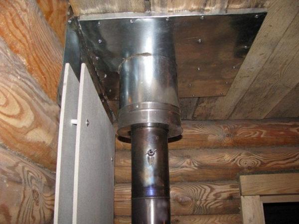 Вывод дымохода через потолок