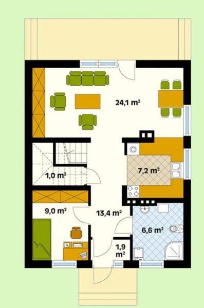 Планировка первого этажа дома 8 на 10 м