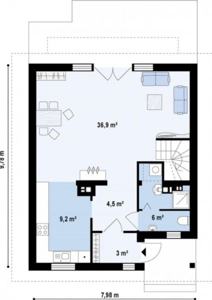 Схема первого этажа дома 8 на 10 м