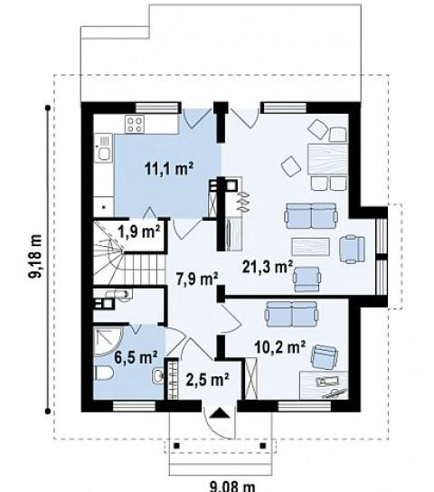 Планировка первого этажа жилого дома 9 на 9