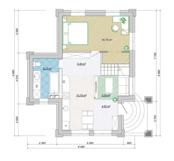Планировка первого этажа дома 9х9