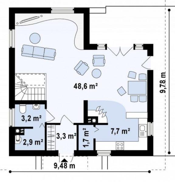 План первого этажа дома 9 на 10