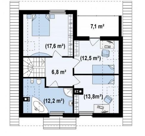 Схема мансардного пространства дома 9 на 10