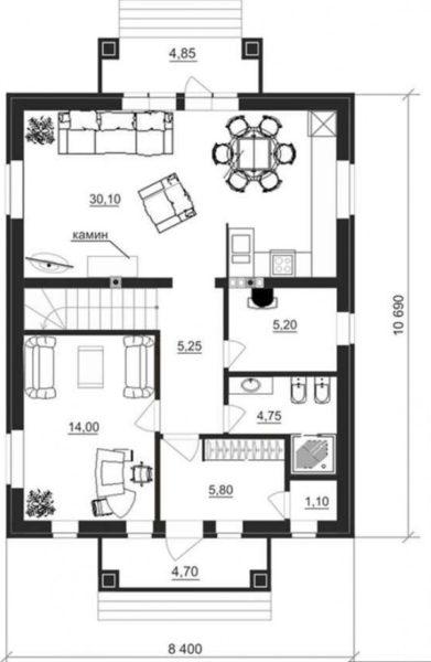 Схема первого этажа небольшого дома с мансардой
