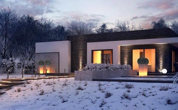Внешний вид одноэтажного дома с плоской крышей