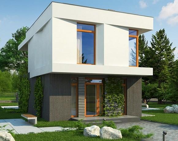 Дизайн двухэтажного дома с плоской кровлей