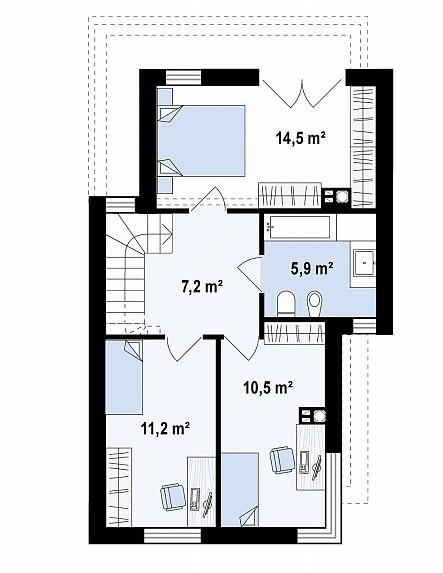 Чертёж второго этажа здания