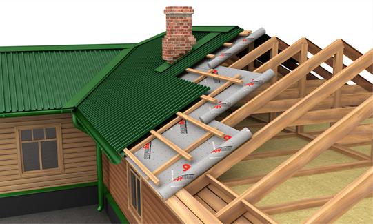 Гидроизоляция двускатной крыши