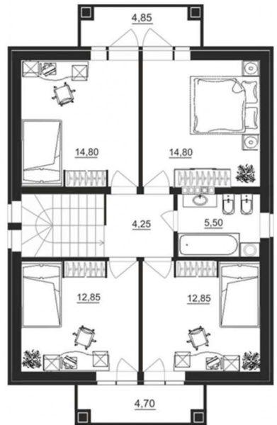 План второго этажа жилого дома