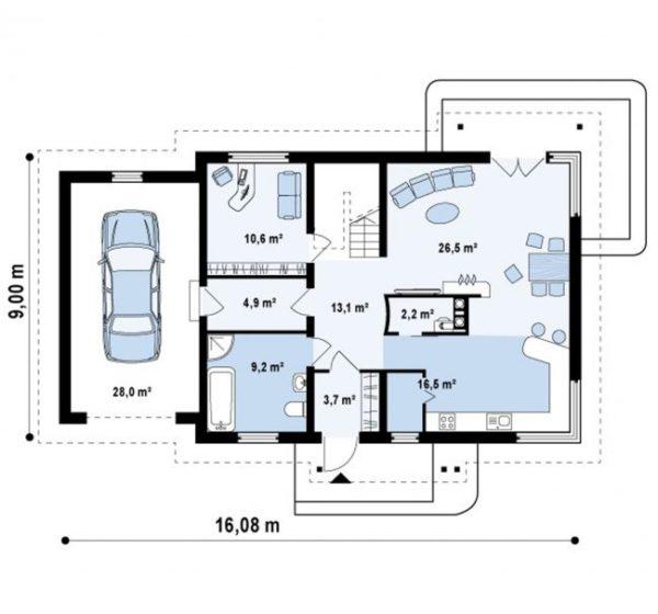 Проект первого этажа дома с гаражом и мансардой