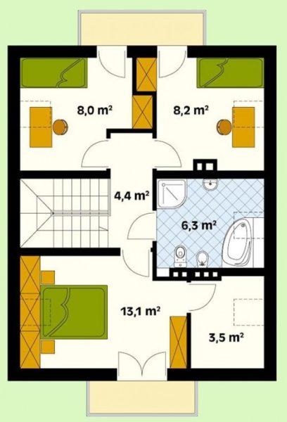 Схема мансардного этажа дома 8 на 10 м