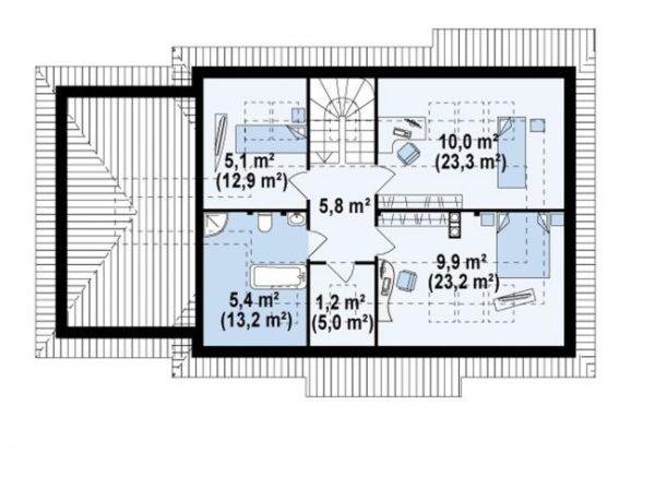 Схема-план мансарды дома с гаражом