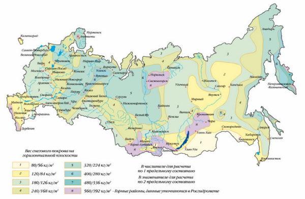 Карта снеговых нагрузок по регионам России