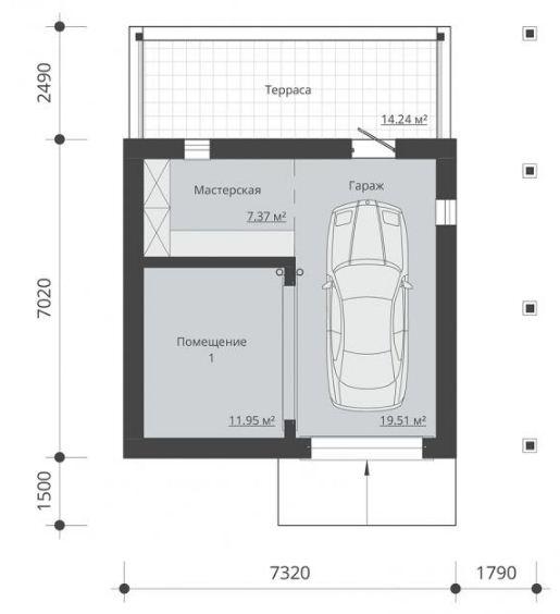 Чертёж гаража с хозпостройкой