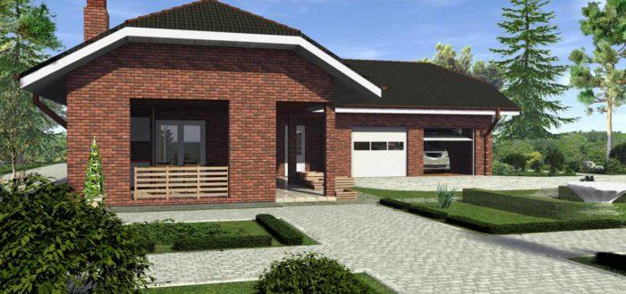 Дом с гаражом и верандой