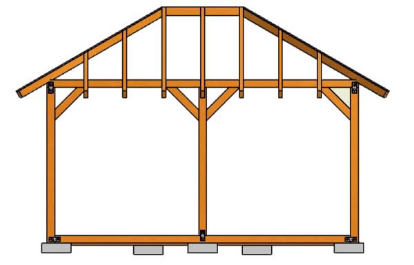 Схема трёхскатной крыши для гаража