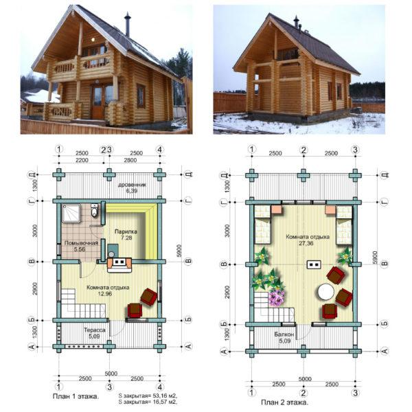 Схема бани с домом
