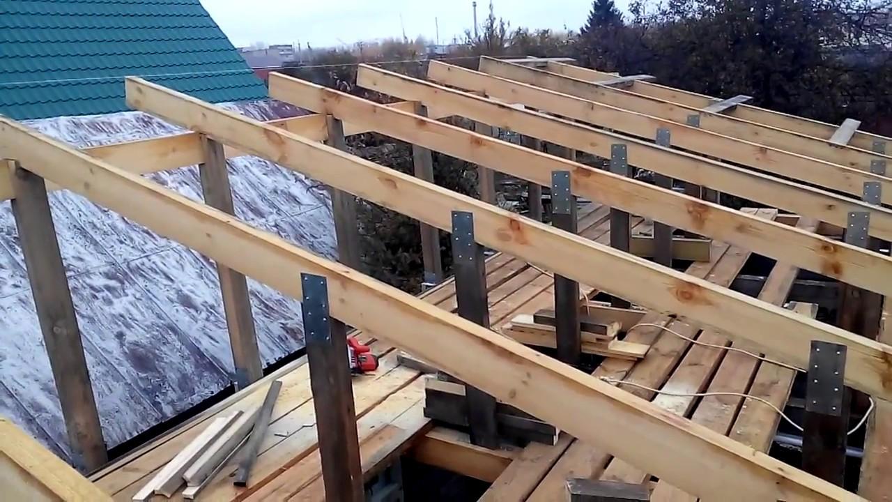 Установка каркаса крыши из профнастила