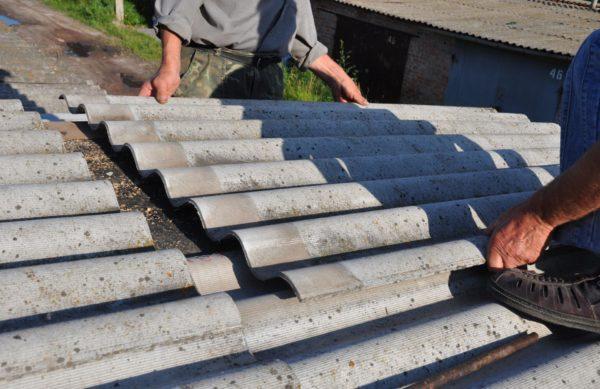 Укладка шифера на крышу гаража