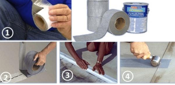 Процесс ремонта мембранной кровли клейкой лентой