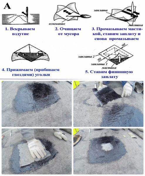 Ремонт места вздутия на мягкой кровле