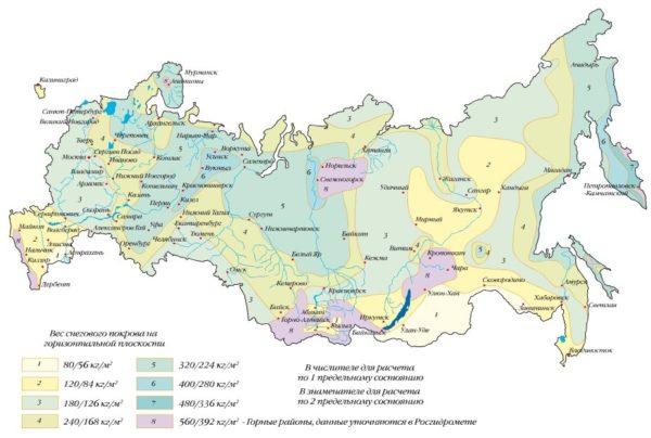 Региональная карта снеговой нагрузки