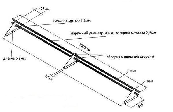 Схема трубчатого снегозадержателя