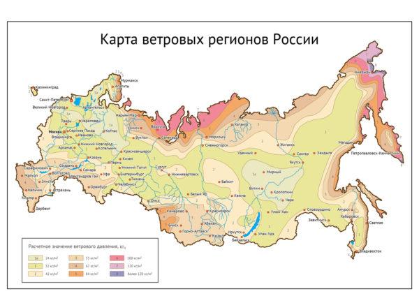 Карта ветровых нагрузок России