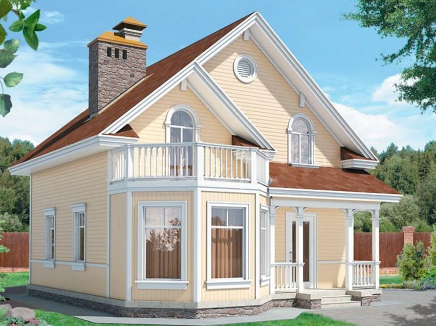 двухэтажный дом с мансардой фото и проекты