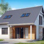 Дом с мансардой под двускатной крышей