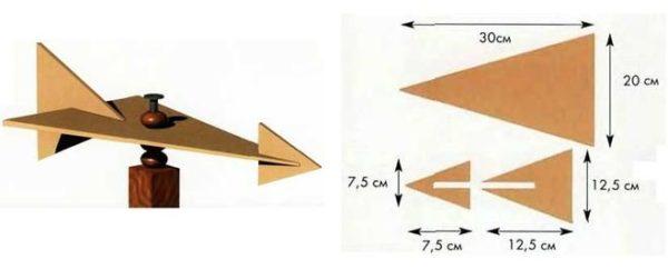 Конструкция флюгера из фанеры