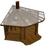 Треугольная беседка с односкатной крышей