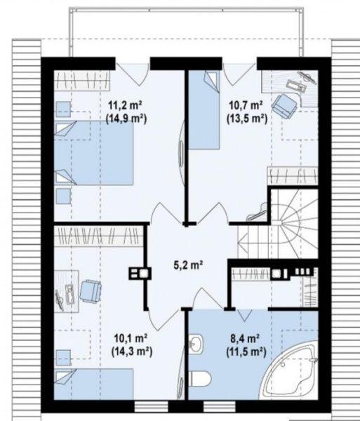 Схема мансарды дома 8 на 10 м
