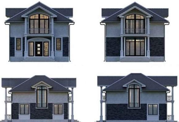 Варианты фасадов двухэтажного здания с мансардой
