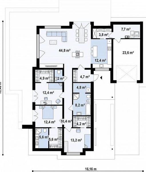 План одноэтажного строения