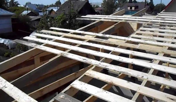 Обрешётка односкатной крыши гаража